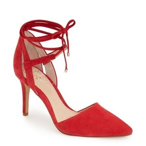 Vince Camuto Red Pointed Lace-Up Heels